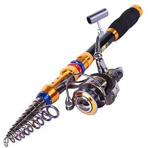 Sougayilang Telescopic Saltwater Freshwater Fishing Rod and Reel Combos